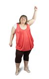 Large woman. Isolated full length studio shot of a casually dressed large woman Stock Image
