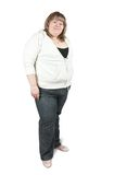 Large woman. Isolated full length studio shot of a casually dressed large woman Stock Photo