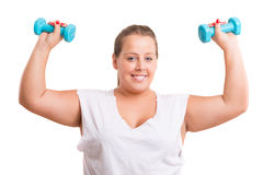 Large Woman exercising Stock Photo