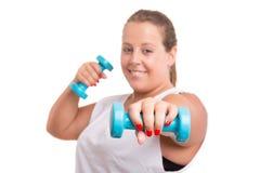 Large Woman exercising Royalty Free Stock Image