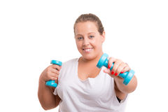 Large Woman exercising Stock Images