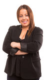 Large woman. A Happy Large business woman - isolated over white background Royalty Free Stock Image