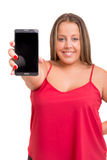 Large woman at the phone Stock Images