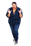 Large woman surprised. Happy large woman looking surprised isolated on white background Royalty Free Stock Photos