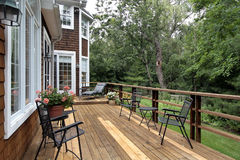 Large wood deck of luxury home. Large wood deck with forest in luxury home Stock Photo