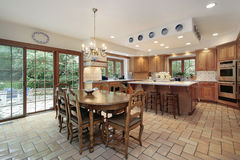 Large wood kitchen. Large kitchen in wood cabinetry with island Stock Photography