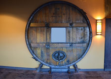 Large Wood Storage Barrel Filled With Alcohol Stock Image