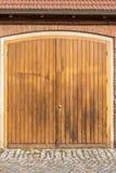Large wooden barn door stock image