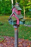 Large wooden Bird House on a 4x4 in High Dynamic Range Royalty Free Stock Photos