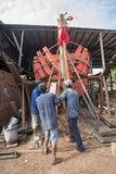 Large wooden boat making in Nga Bay, southern Vietnam stock photography