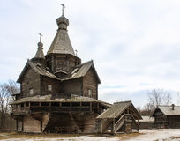 Large wooden church. Royalty Free Stock Photo