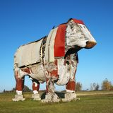 Large wooden cow sculpture. Stock Photos