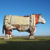 Large wooden cow sculpture. stock images