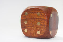 Large wooden dice on a white background.  stock image