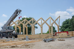 Large wooden framed building being  constructed Royalty Free Stock Photos
