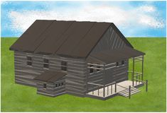 A large wooden lodge with front porch on a sparse green field against an azure blue sky. A computer generated illustration image of a large wooden lodge with royalty free illustration