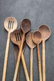 Large wooden mixing spoons Royalty Free Stock Images