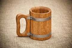 Large wooden mug Royalty Free Stock Image
