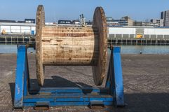Large wooden pulley at the quay stock images