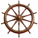 Large wooden ship wheel. Stock Photos