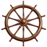 Large wooden ship wheel. Stock Photos