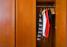 Large wooden wardrobe Stock Photo