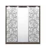 Large wooden wardrobe with a decor on the mirrors. 3d illustration stock illustration