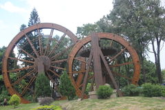 Large wooden waterwheel in shenzhen Folk village park Stock Images