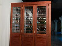 Large wooden wine rack in the restaurant stock photos