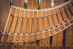 Large wooden xylophone Royalty Free Stock Images