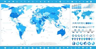 Large World Map and infographic elements Stock Photo