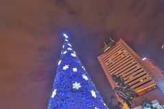 a large of xmas tree at outdoor at central hk stock images