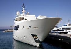 Large yacht. Large luxury yacht moored in marina Royalty Free Stock Image