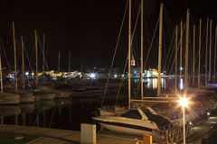 Large yacht harbor in the night Royalty Free Stock Image