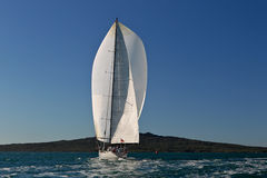 Large Yacht Under Full Sail stock photo