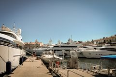 Larg yachts on the port of Saint-Tropez royalty free stock photography