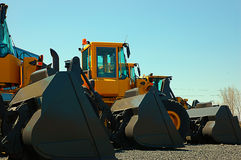 Large Yellow Bulldozers Stock Photo
