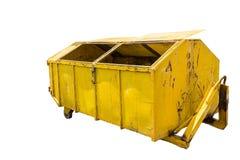 Large yellow metal recycle garbage bin Stock Images