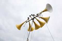 A large yellow multiple loudspeaker system Royalty Free Stock Images