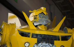 Large Yellow Robot Built with Automobile Parts.  royalty free stock images