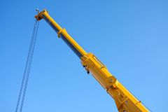 Large yellow telescopic crane Royalty Free Stock Photography