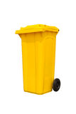 Large yellow trash can Stock Photos