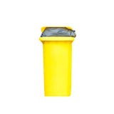 Large yellow trash can Royalty Free Stock Photography