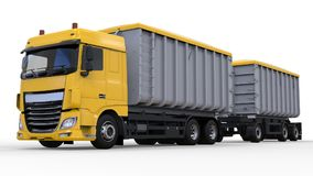 Large yellow truck with separate trailer, for transportation of agricultural and building bulk materials and products. 3d renderin Royalty Free Stock Photo