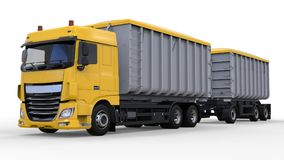 Large yellow truck with separate trailer, for transportation of agricultural and building bulk materials and products. 3d renderin Royalty Free Stock Photos