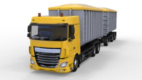 Large yellow truck with separate trailer, for transportation of agricultural and building bulk materials and products. 3d renderin Stock Image