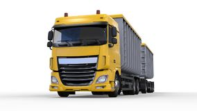 Large yellow truck with separate trailer, for transportation of agricultural and building bulk materials and products. 3d renderin Royalty Free Stock Images