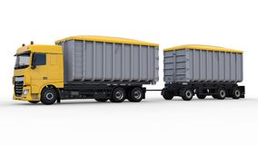 Large yellow truck with separate trailer, for transportation of agricultural and building bulk materials and products. 3d renderin Stock Photos