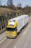 Large yellow and white lorry. Yellow and white lorry, truck Stock Images