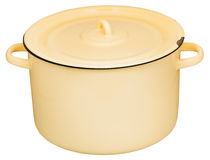 Large yelow enamel stockpot closed by lid isolated Royalty Free Stock Photos